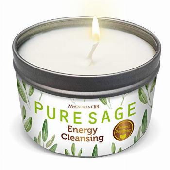 MAGNIFICENT 101 Pure White Sage Smudge Candle for House