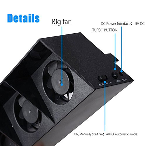 ElecGear PS4 Turbo Cooling Fan External USB Cooler with Auto